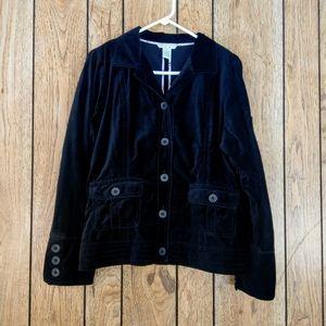 CAbi Black Velvet Blazer Utility Jacket